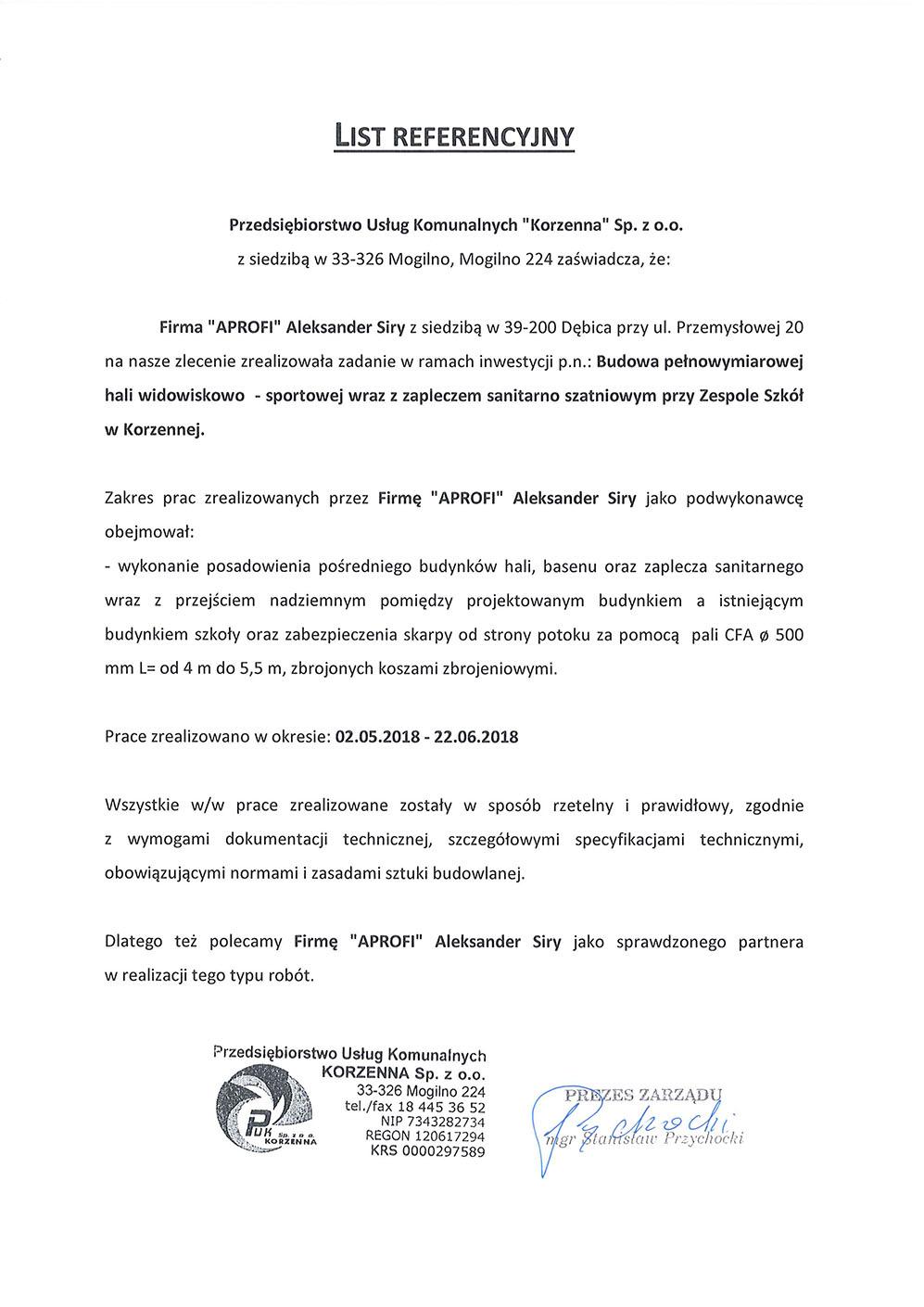 List referencyjny za wykonanie pali CFA dla hali widowiskowo-sportowej przy Zespole Szkół w Korzennej