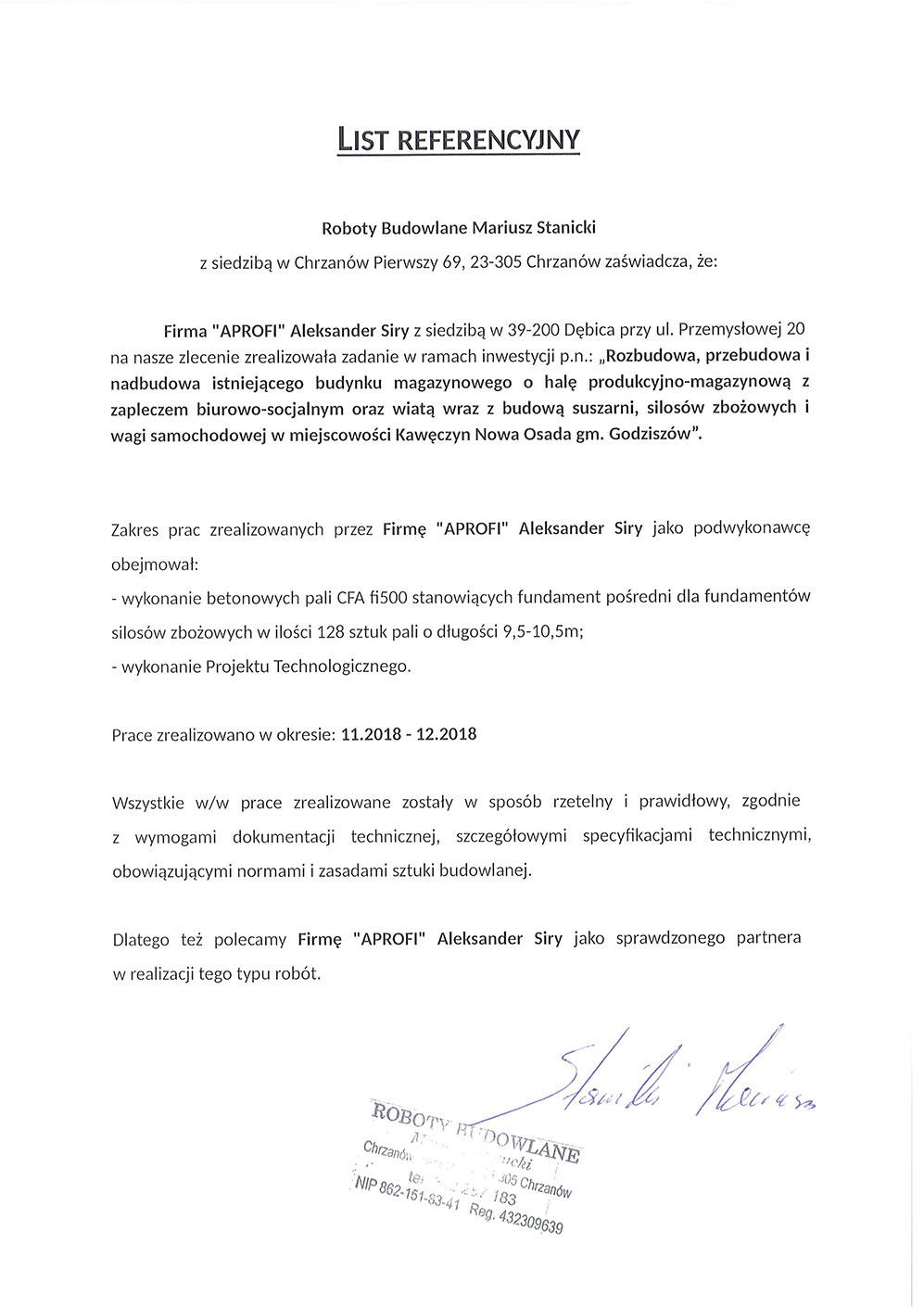 List referencyjny za pale CFA w miejscowości Kawęczy Nowa Osada