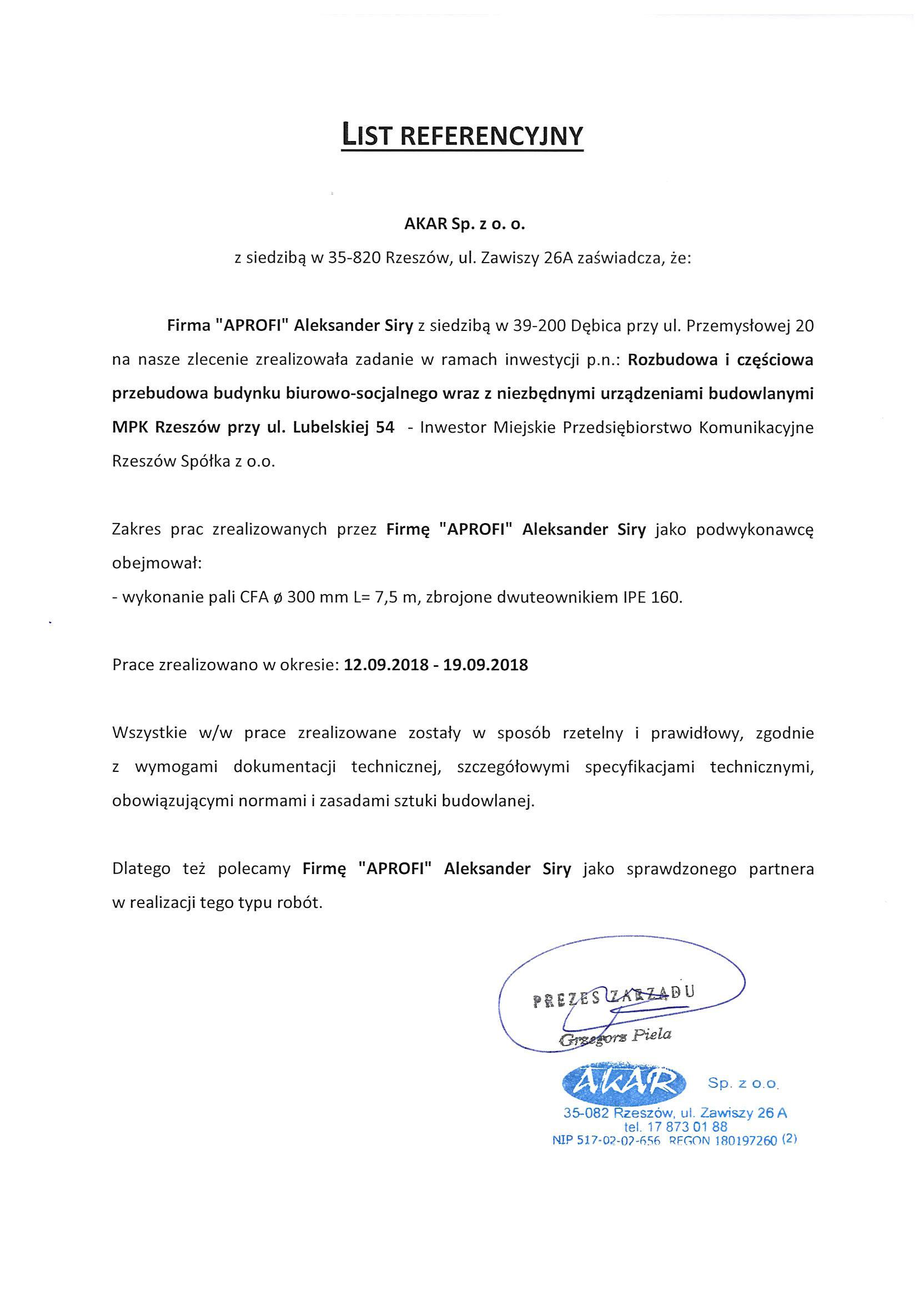 List referencyjny realizacji pali CFA dla MPK Rzeszów