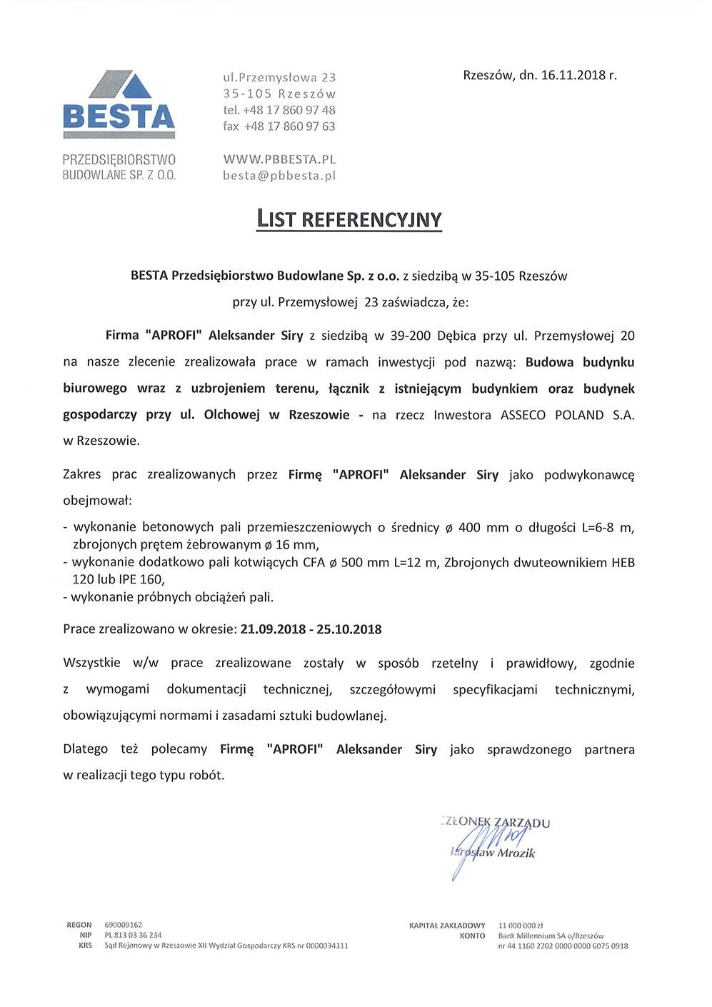 List referencyjny za pale przemieszczeniowe dla budynku gospodarczego przy ul. Olchowej w Rzeszowie