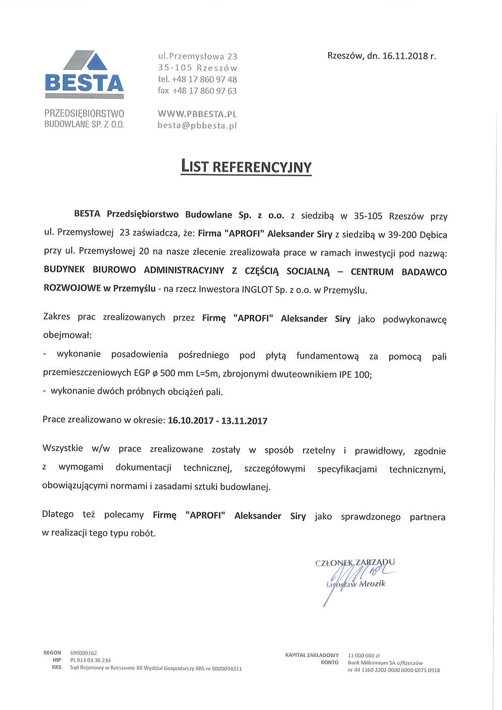 List referencyjny za wykonanie pali przemieszczeniowych EGP dla Centrum Badawczo Rozwojowego w Przemyślu